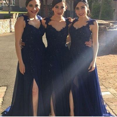 Navy-Blue Chiffon Lace-Appliques Side-Slit A-line Bridesmaid Dresses_3