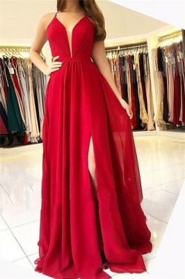 Sexy A-Line Sleeveless Open-Back Side-Slit Prom Dresses_1