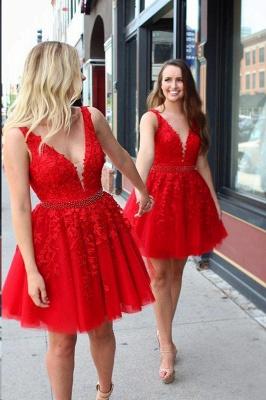 Chic Straps Beading Sash Homecoming Dress_1