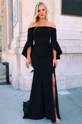 Black Off-The-Shoulder Ruffle Mermaid Prom Dresses | Sexy Evening Dresses with Side Slit_1