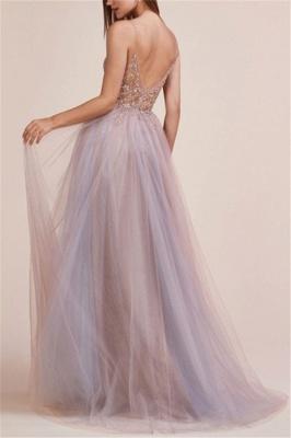 Seductive A-line V-neck Spaghetti-Straps Prom Dresses with Side Slit_2