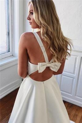 Modern A-line V-neck Satin Plain Wedding Dresses_2