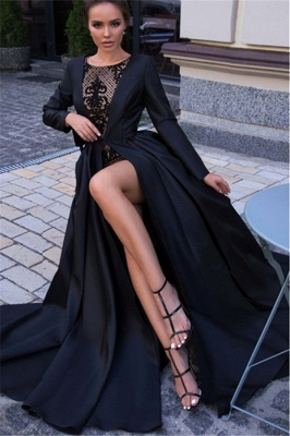 Classic A-line Long Sleeves Black Prom Dresses with a Leg Slit_3