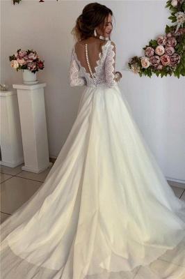 Gorgeous A-line V-Neck Wedding Dresses with Long See-Through Sleeves_2
