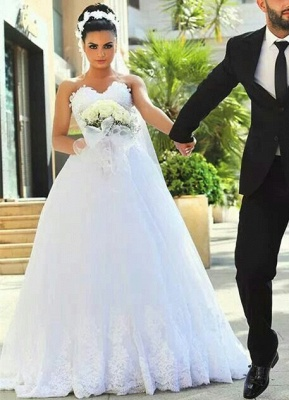 A-line Sweetheart Modern Sleeveless Lace Wedding Dress_4