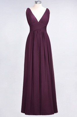 A-Line V-Neck Sleeveless Floor-Length  Bridesmaid Dress with Ruffle_1