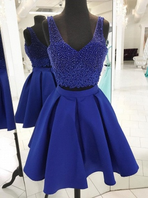 Two-Pieces Straps Beading Sleeveless Homecoming Dress_1