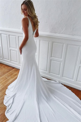 Dazzling Straps Sleeveless Mermaid Wedding Dresses_2