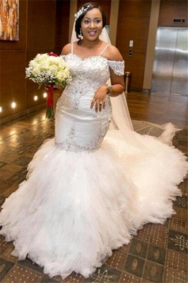 Glamorous Cap-Sleeve Appliques Plus-Size Lace Mermaid Wedding Dress_4