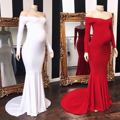 Charming Off Shoulder Long Sleeves Pregnant Mermaid Prom Dresses_3