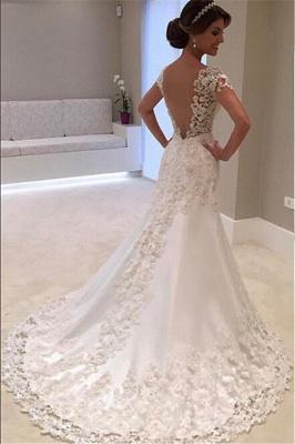 Cap Sleeves Lace Beading Open Back Mermaid Wedding Dresses_3