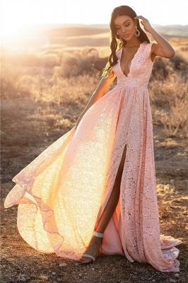 Pink Straps V-Neck Lace Side-Slit A-Line Evening Dresses_3