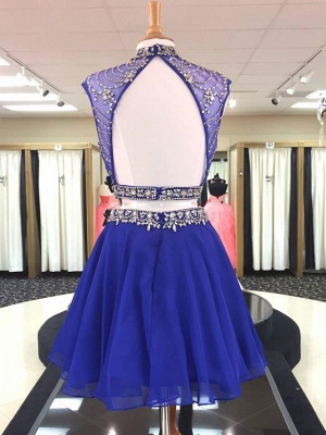 Illusion Two-Pieces High Neck Beading Homecoming Dress_2