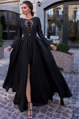 Classic A-line Long Sleeves Black Prom Dresses with a Leg Slit_1
