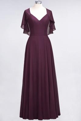 A-Line V-Neck short-sleeves Floor-Length Satin Bridesmaid Dress_1