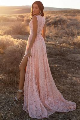 Pink Straps V-Neck Lace Side-Slit A-Line Evening Dresses_2