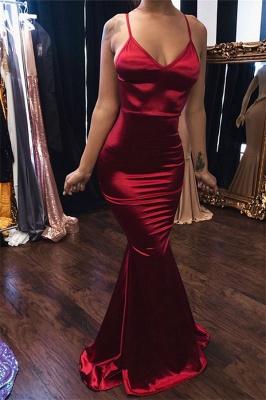 Sleek Spaghetti-Straps Burgundy Mermaid Prom Dresses_1