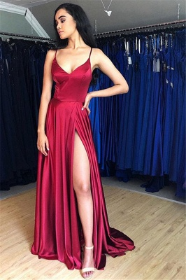 Sleek Spaghetti-Straps Prom Dresses with Side-Slit | A-line Satin Burgundy Evening Dresses_1