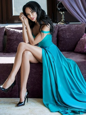 Green A-line Straps Long Prom Dresses with Side Slit_2