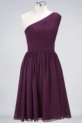 A-Line One-Shoulder Sleeveless Knee-Length  Bridesmaid Dress with Ruffles_1