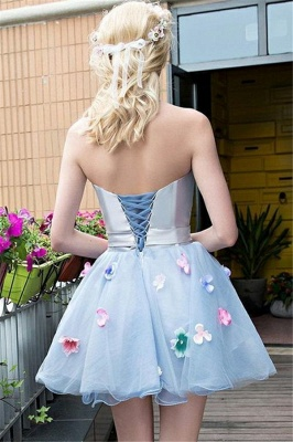 Flowers Strapless Satin Tulle Homecoming Dress_2