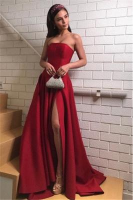 Stylish A-Line Burgundy Strapless Prom Dresses with Split_2