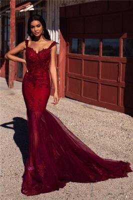 Burgundy Straps Appliques Tulle Mermaid Prom Dresses_4