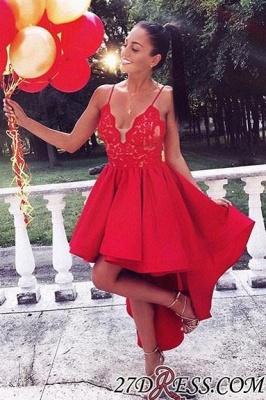 Elegant Red High Low A-line V-neck Appliques Prom Dress_2