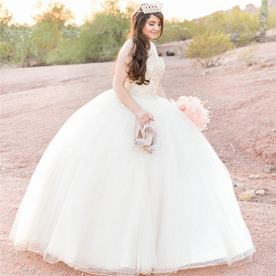 Attractive White Sweetheart Beadings Sleeveless Sweet 16 Dresses | Ball Gown Quince Dresses Long_1