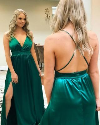 Sexy A-Line Spaghetti-Straps Side-Slit Backless Prom Dresses_2