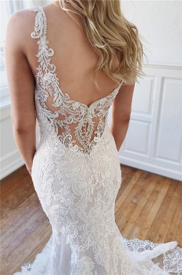 Alluring Straps Lace Appliques Crystal Mermaid Wedding Dresses_2
