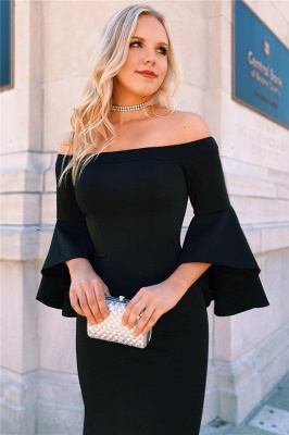 Black Off-The-Shoulder Ruffle Mermaid Prom Dresses | Sexy Evening Dresses with Side Slit_2