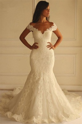 Glamorous Off-The-Shoulder Applique  Sexy Mermaid Lace Wedding Dresses_2
