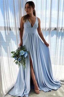 Sky Blue Straps V-Neck Side-Slit A-Line Prom Dresses_1