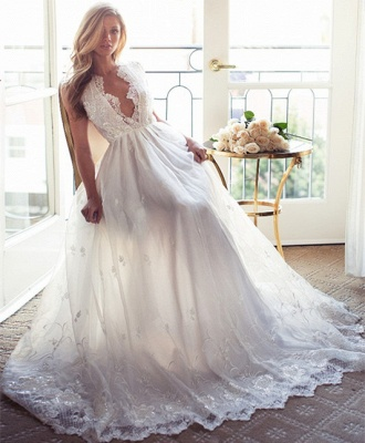 Sleeveless V-Neck Appliques Lace Glamorous A-Line Princess Wedding Dress_3