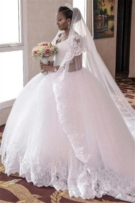 Glamorous Tulle Lace-Appliques Long Cap-Sleeve Ball-Gown Wedding Dress_6