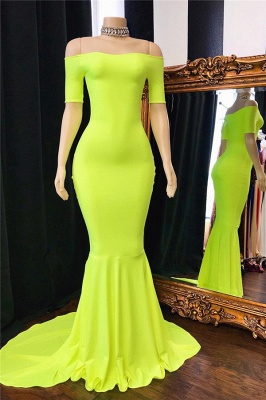 Simple Off-The-Shoulder Mermaid Lucifer Yellow Prom Dresses_1