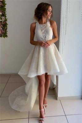 Stylish Sleeveless Hi-Lo Wedding Dresses with Appliques_1