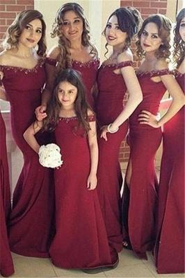 Crystal Off-the-Shoulder Side-Slit Mermaid Simple Bridesmaid Dress_2