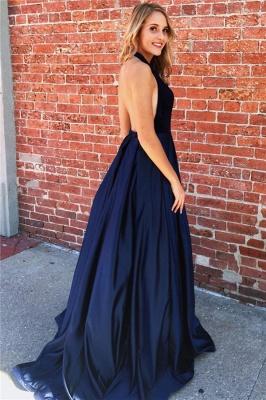 Sexy A-line Deep V-neck Navy Blue Prom Dresses_2