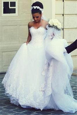 A-line Sweetheart Modern Sleeveless Lace Wedding Dress_3