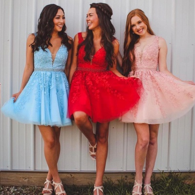 Chic Straps Beading Sash Homecoming Dress_8