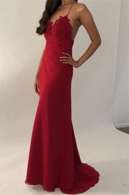 Sexy Spaghetti-Straps Mermaid Prom Dresses | Seductive Floor Length Red Evening Gowns_1