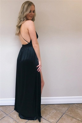 Sexy A-Line Spaghetti-Straps Side-Slit Backless Prom Dresses_4