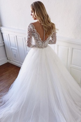 Glamorous Lace Appliques Long-Sleeves  A-Line Wedding Dresses_2