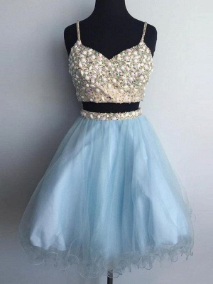Two-Pieces Tulle Spaghetti-Straps Homecoming Dress_1
