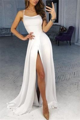 A-line Spaghetti Straps Satin Prom Dresses with a Leg Slit_1