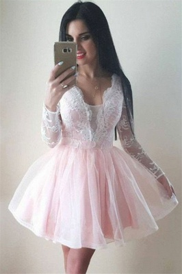 Long-Sleeves Tulle Lace V-Neck Homecoming Dress_1