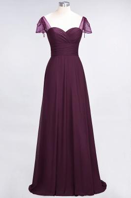A-Line Sweetheart Cap-Sleeves Ruffle Floor-Length  Bridesmaid Dress with Beadings_1