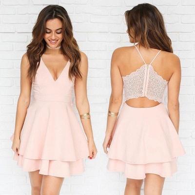 Chic Layers V-Neck Spaghetti-Straps Homecoming Dress_4